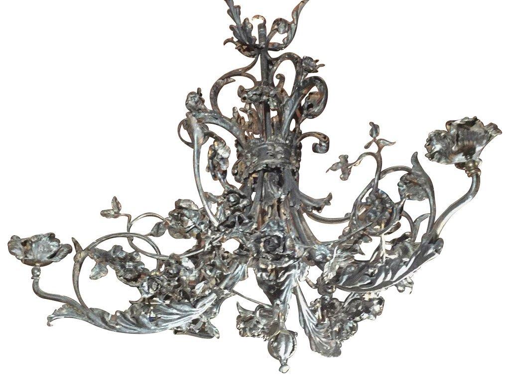 Unusual French Art Nouveau Iron Chandelier