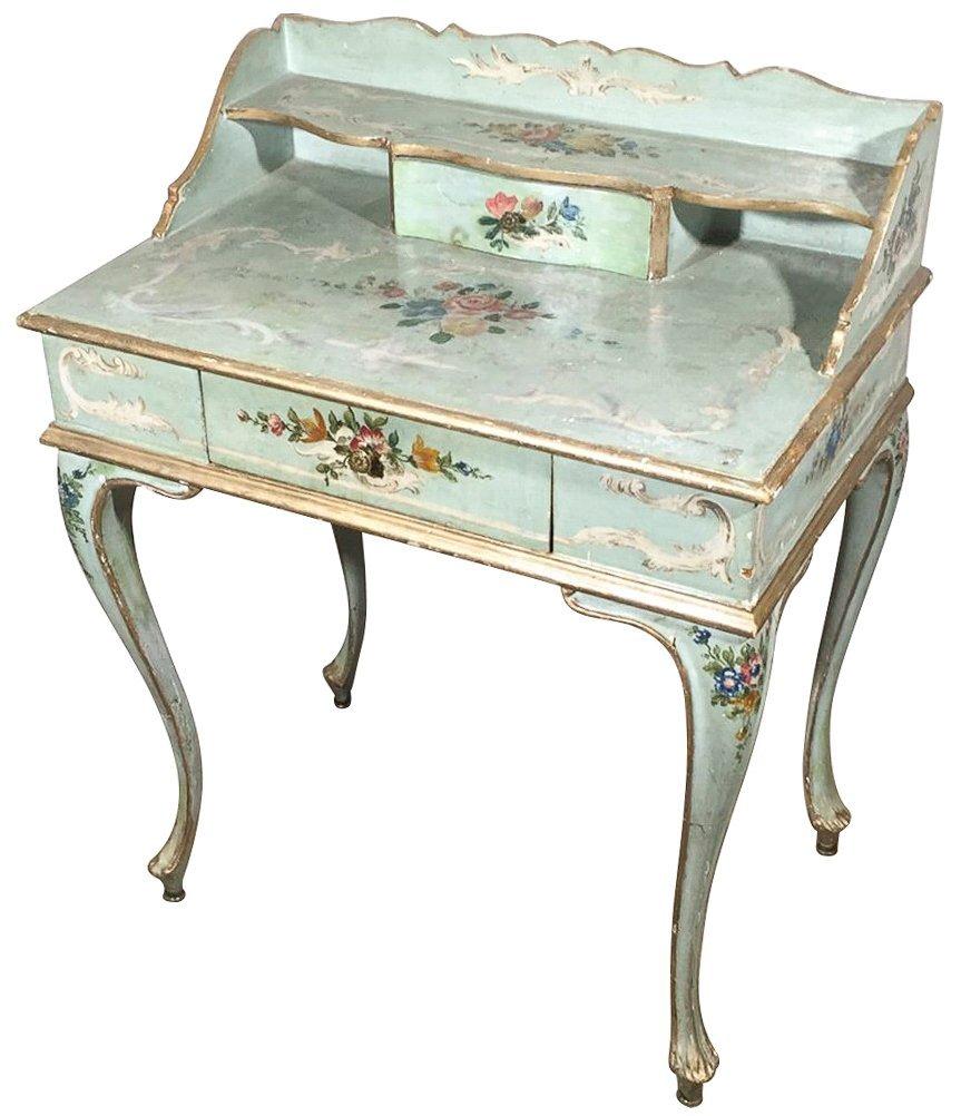 Venetian Hand-painted One Drawer Ladies Desk,