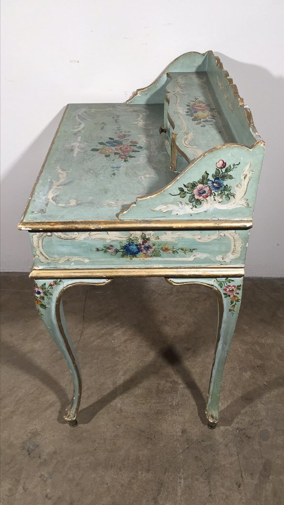 Venetian Hand-painted One Drawer Ladies Desk, - 2