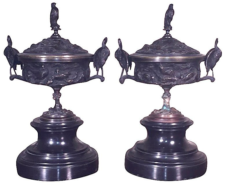 Pr. 19th C. Bronze Capped Urns