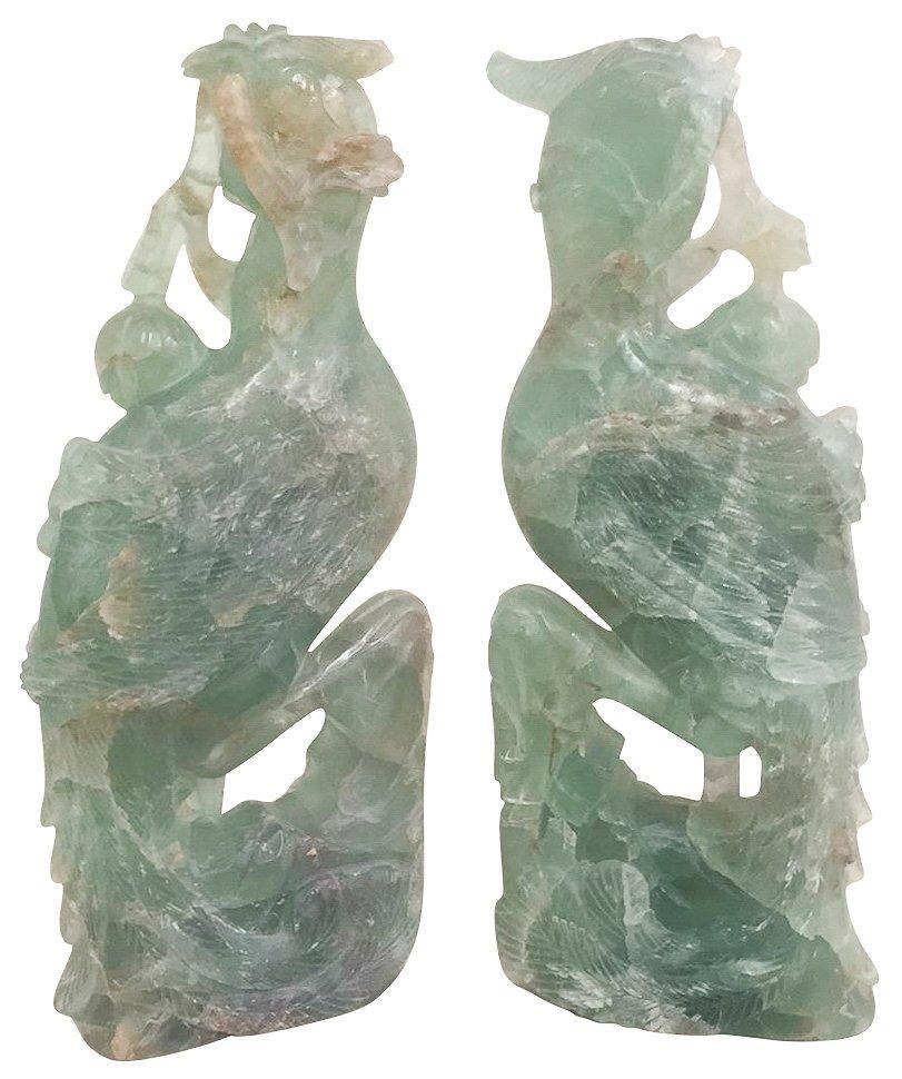 Nice Pair Of Carved Jade Birds Of Paradise13