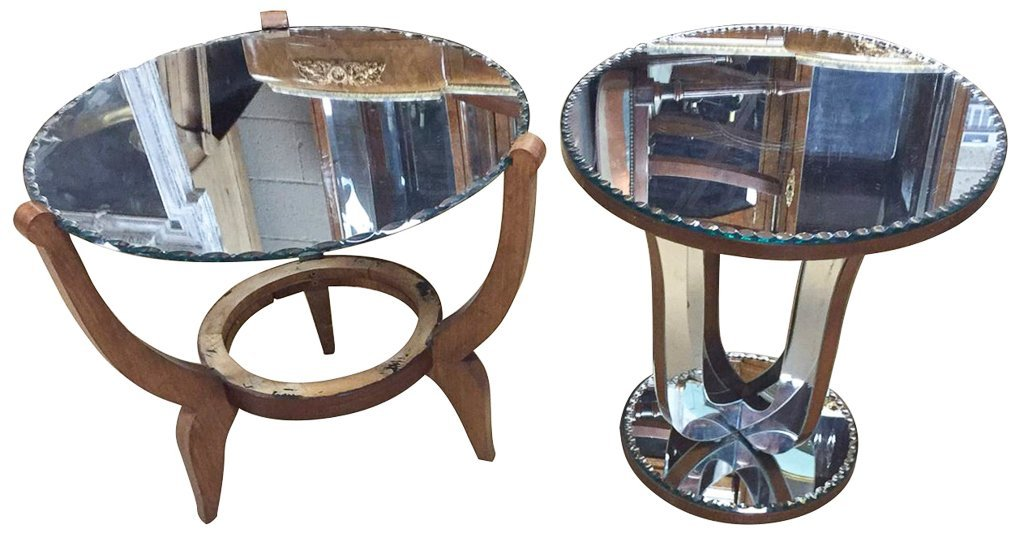 2  Art Deco Mirrored Top Cocktail Tables