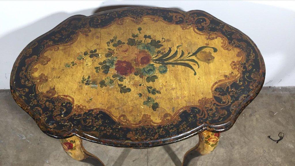 Petite Venetian Hand-painted Side Table, 22.5 - 2