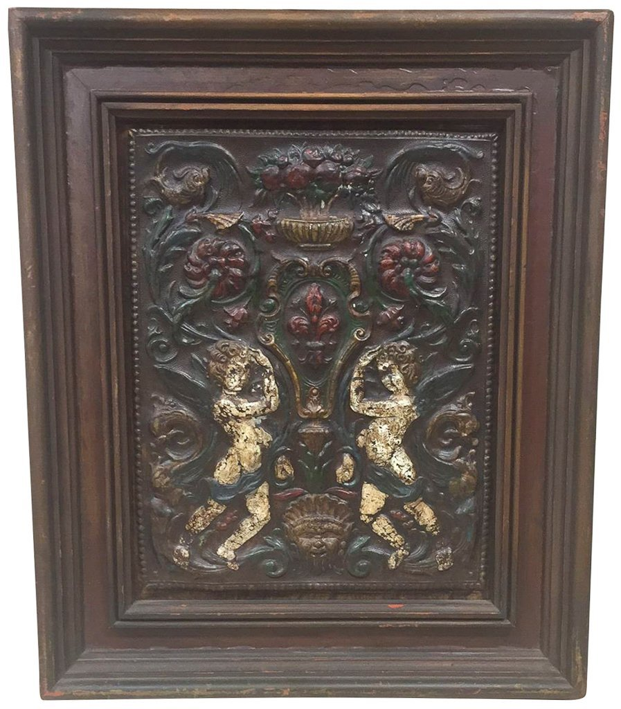 Antique Framed French Embossed Leather Panel,