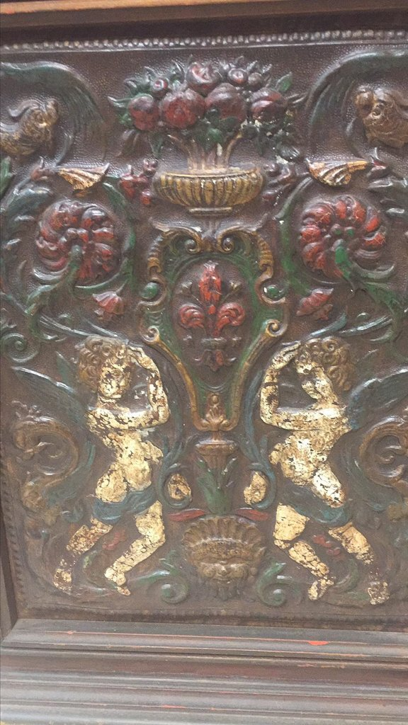 Antique Framed French Embossed Leather Panel, - 2