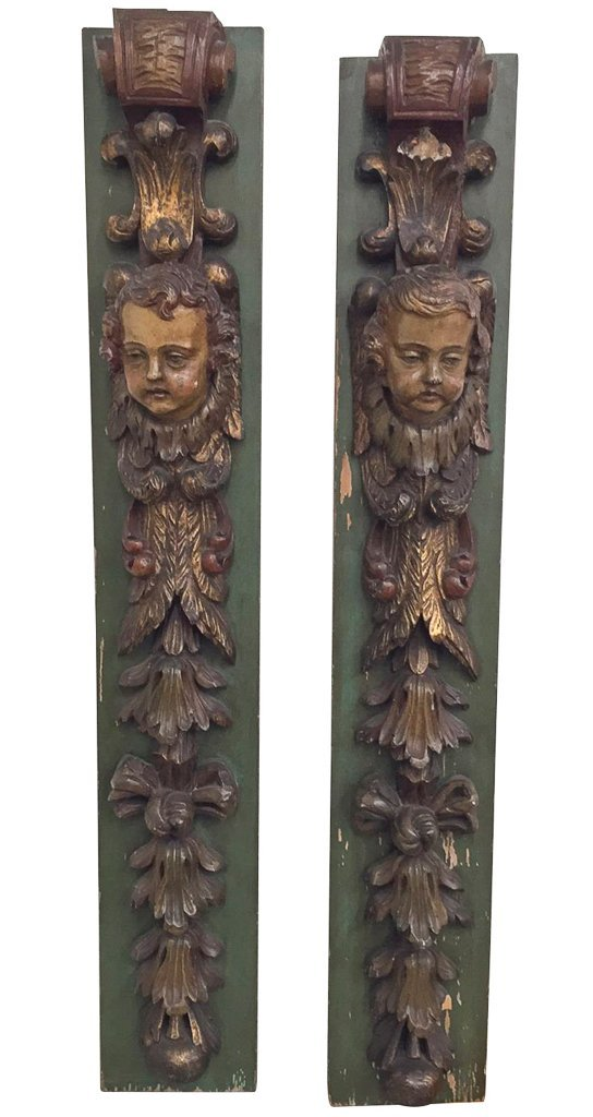 Pr 19th C. French Carved Wood Elements,