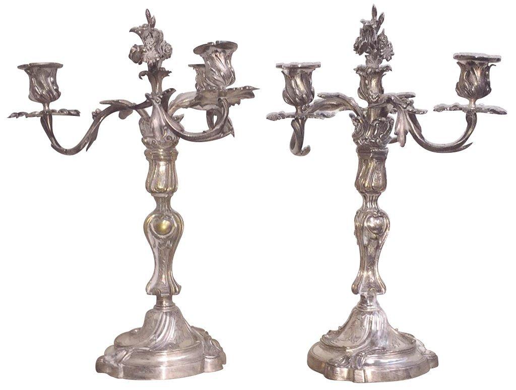 Pr. Antique French Silvered Bronze Candelabra,