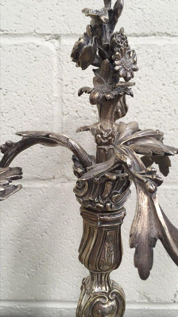Pr. Antique French Silvered Bronze Candelabra, - 3
