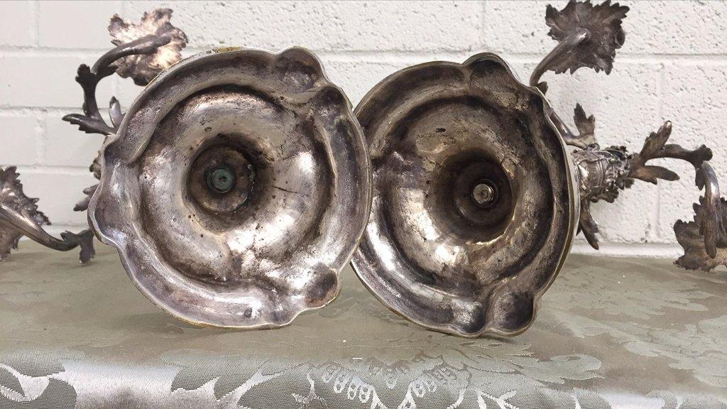 Pr. Antique French Silvered Bronze Candelabra, - 5