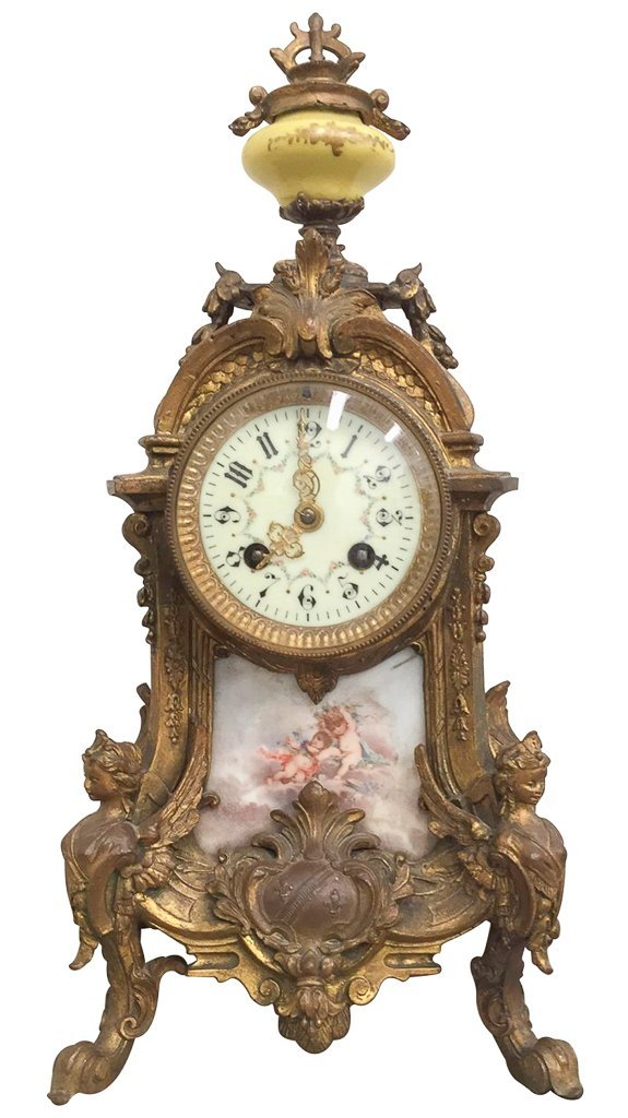French Bronze Mantle Clock, With Porcelain