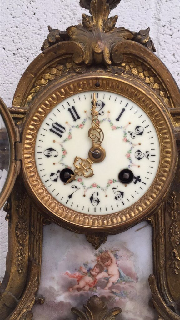 French Bronze Mantle Clock, With Porcelain - 4