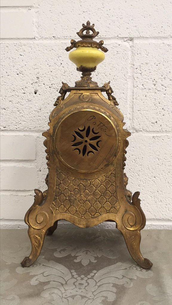 French Bronze Mantle Clock, With Porcelain - 6