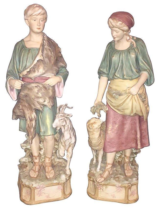 Pair Of 19th C. Royal Dux Figures