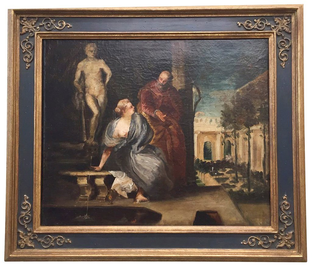 Early French Oil On Canvas Painting, Possibly