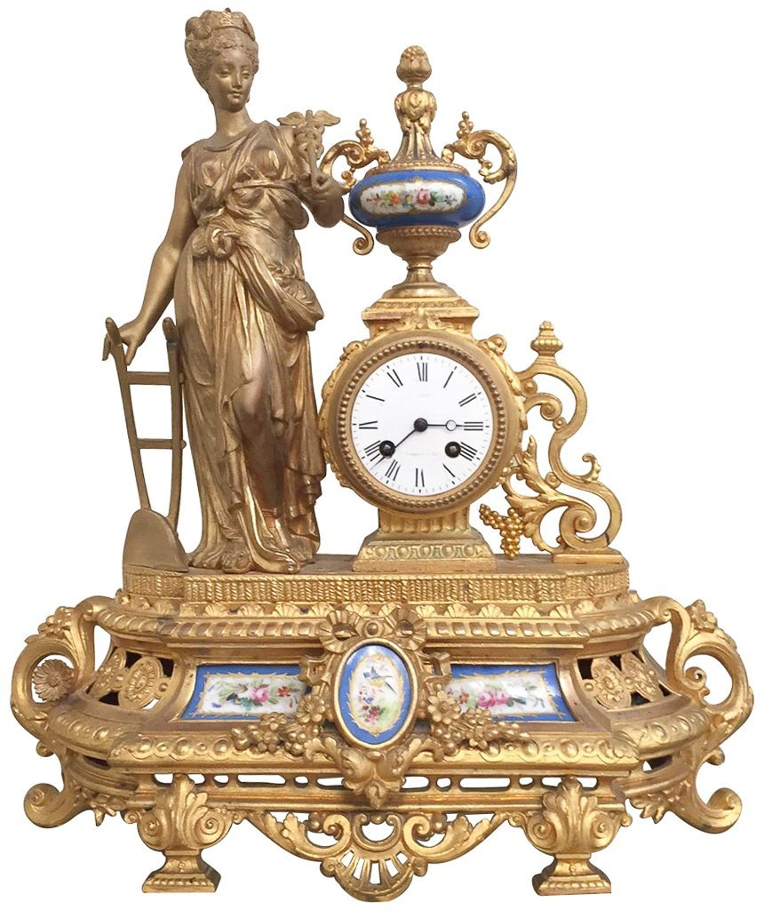 19th C French Gilt Metal Mantel Clock