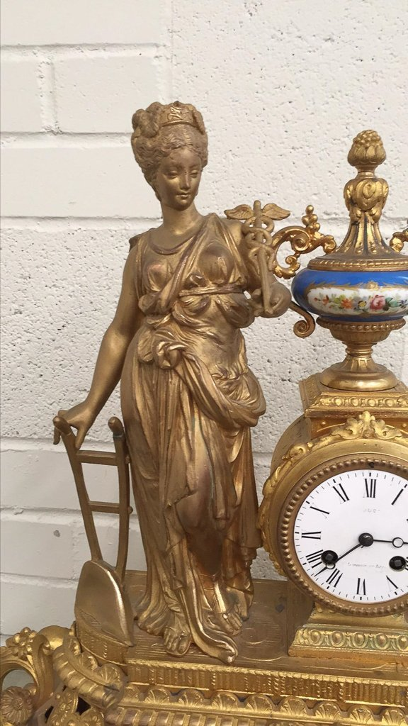 19th C French Gilt Metal Mantel Clock - 6