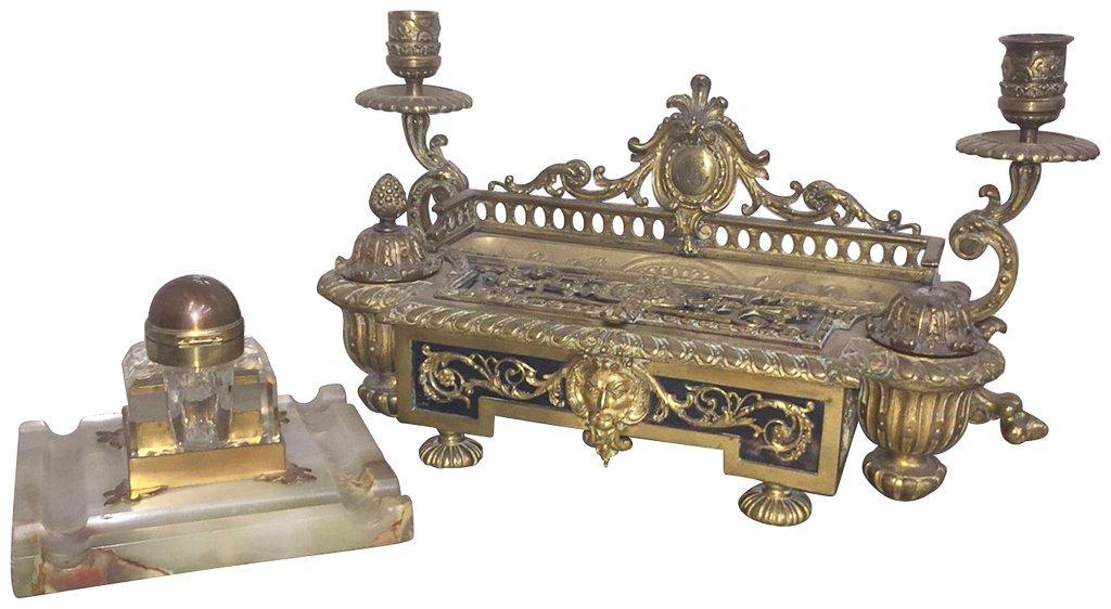 French  Napoleon Iii Cast Bronze Inkwell