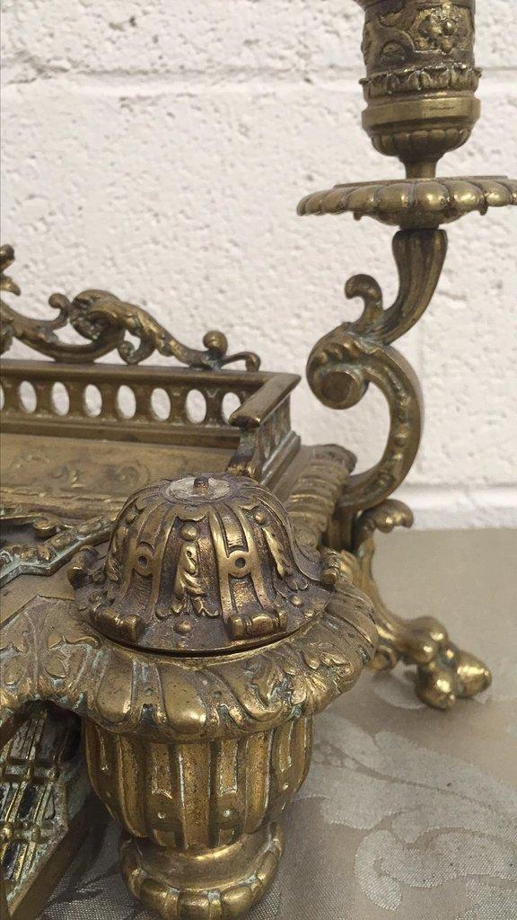 French  Napoleon Iii Cast Bronze Inkwell - 4