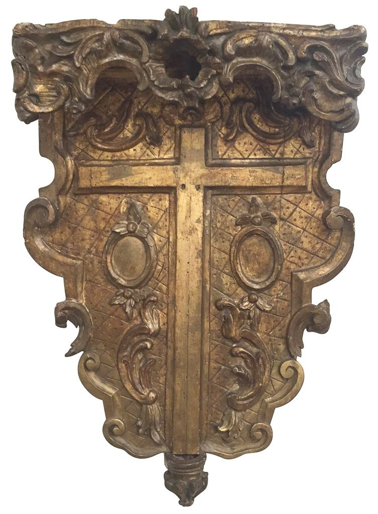 An 18th C. Italian Giltwood Altar Crucifix