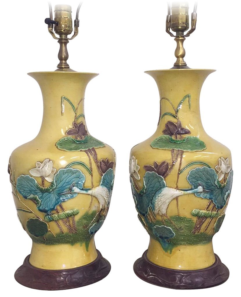 Exceptional Pair Of Chinese Glazed Lamps,