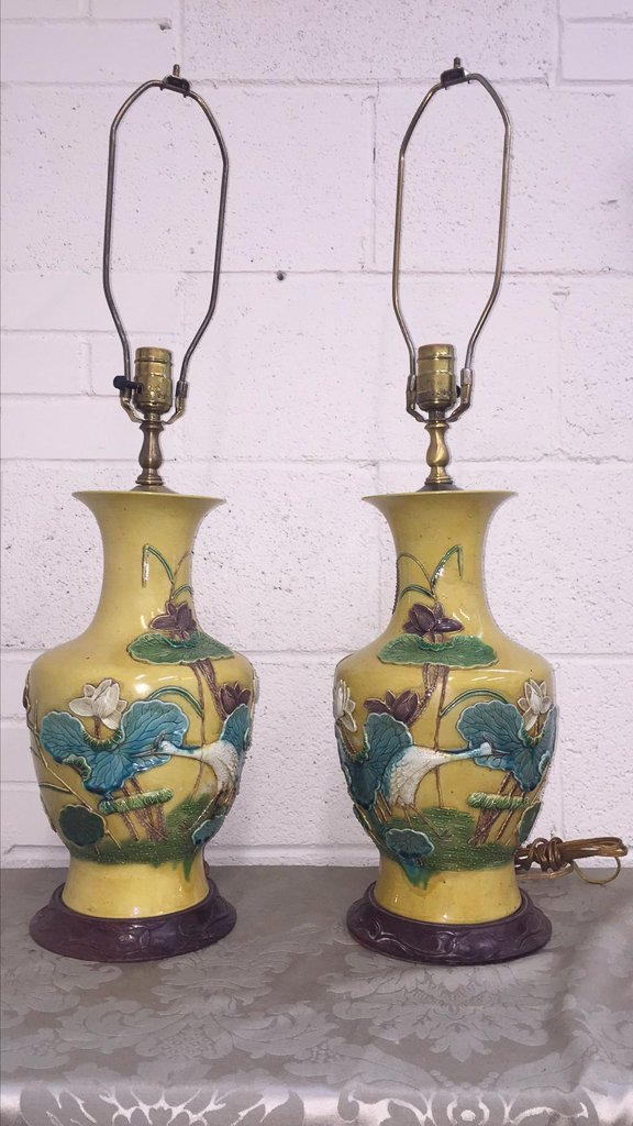 Exceptional Pair Of Chinese Glazed Lamps, - 2