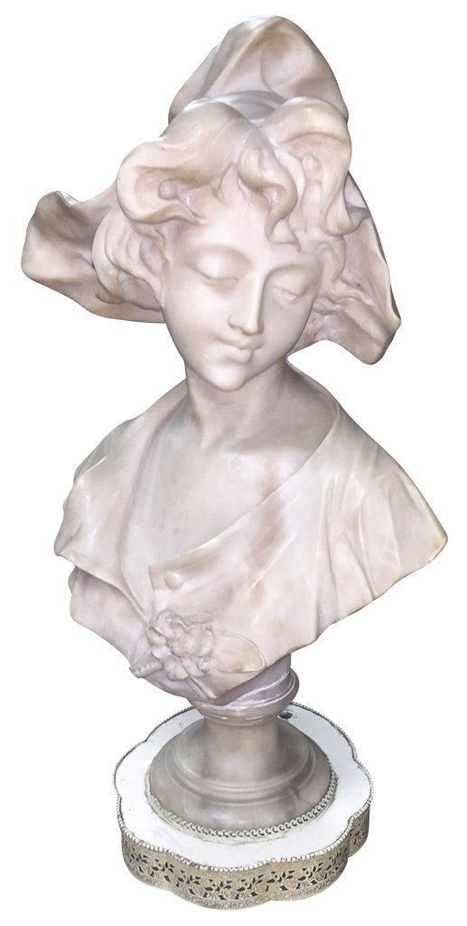19th Century French Carved Alabaster Bust,
