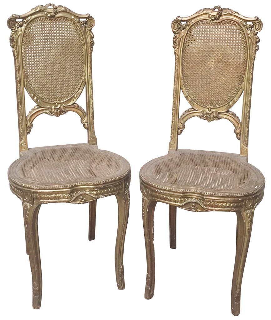 Pair Of Antique French Louie Xv Side Chairs