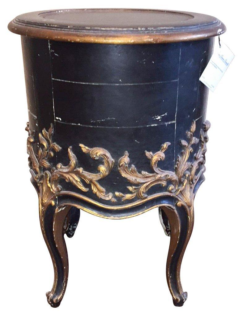Italian Carved Black & Gilt Side Table