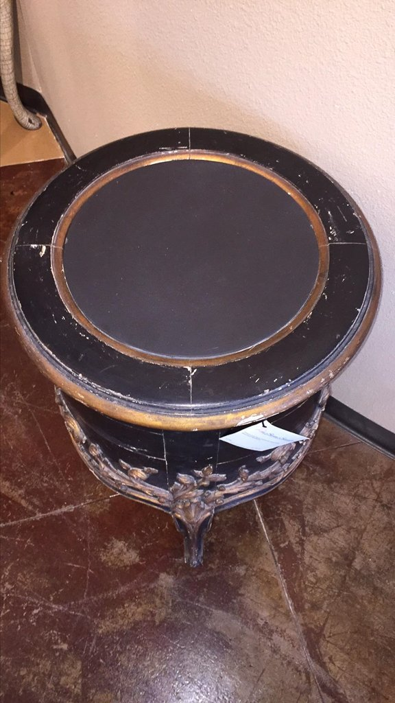 Italian Carved Black & Gilt Side Table - 4