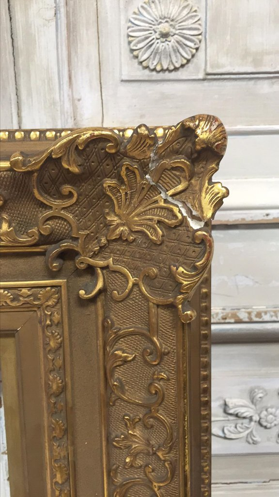 Antique French Water Gilt Wood Frame - 7
