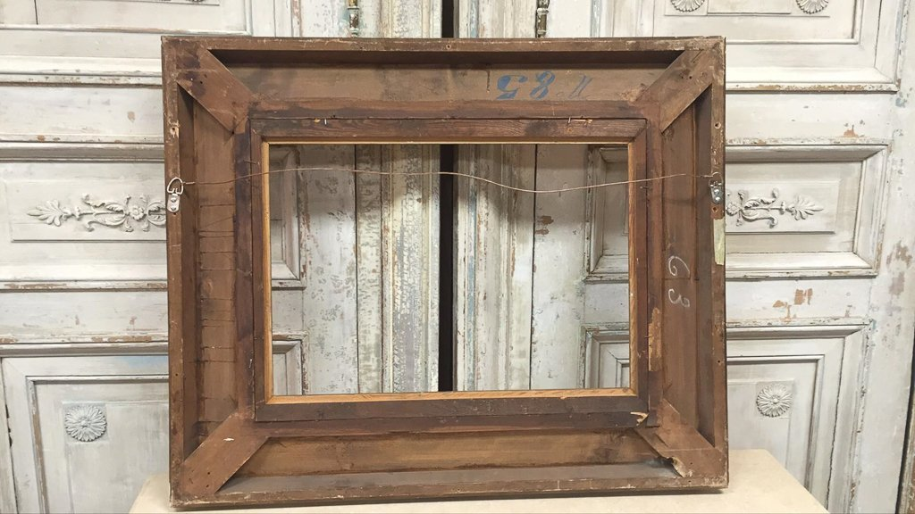 Antique French Water Gilt Wood Frame - 8