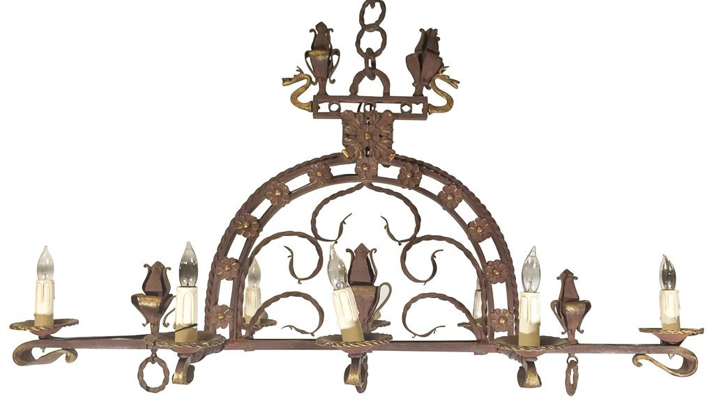 French Eight Light Heavy Iron Chandelier
