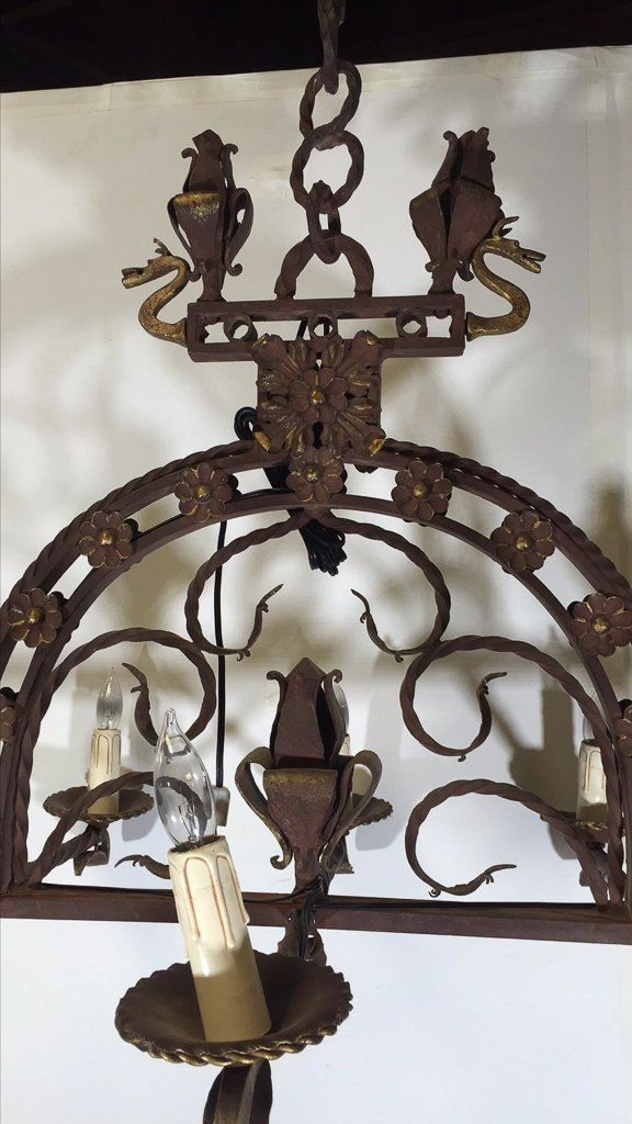 French Eight Light Heavy Iron Chandelier - 2