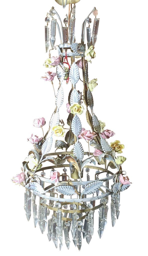 Parisian Metal Basket Chandelier, With