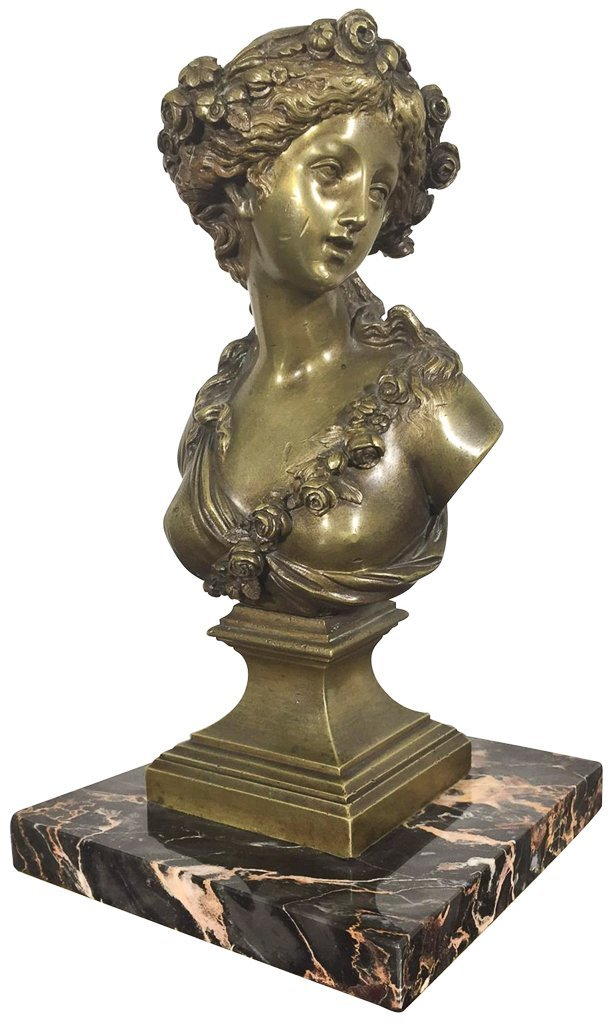Antique French Bronze Bust, Young Beauty, Set