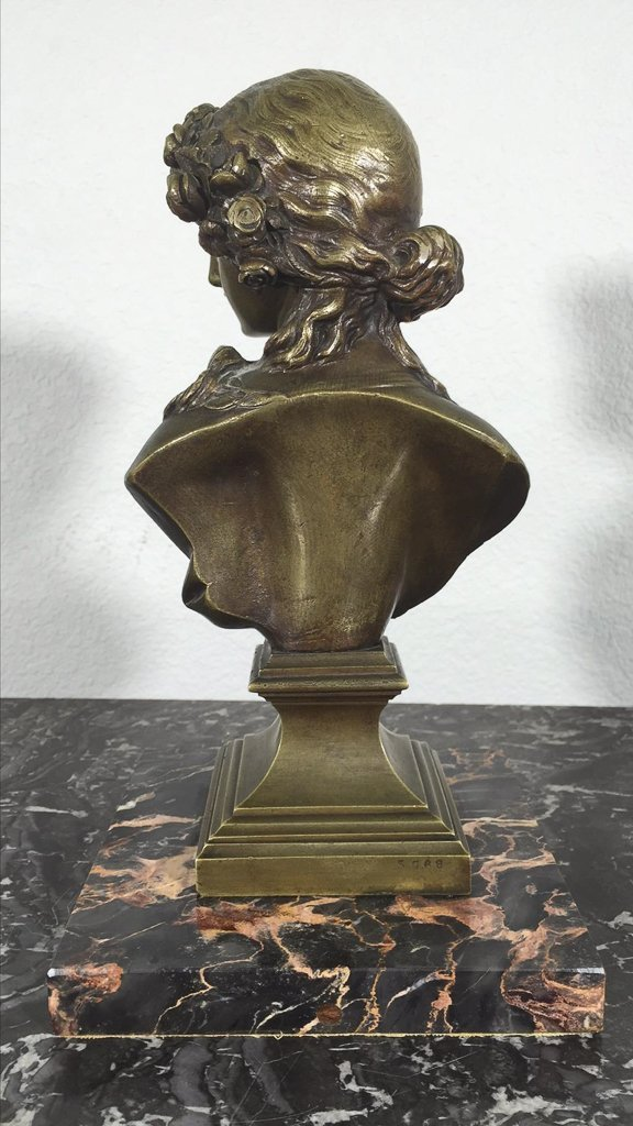 Antique French Bronze Bust, Young Beauty, Set - 2
