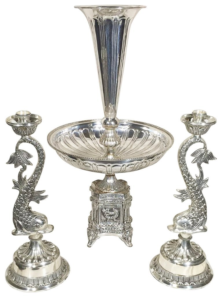 Nice Silver Plated Epergne, With A Pair Of
