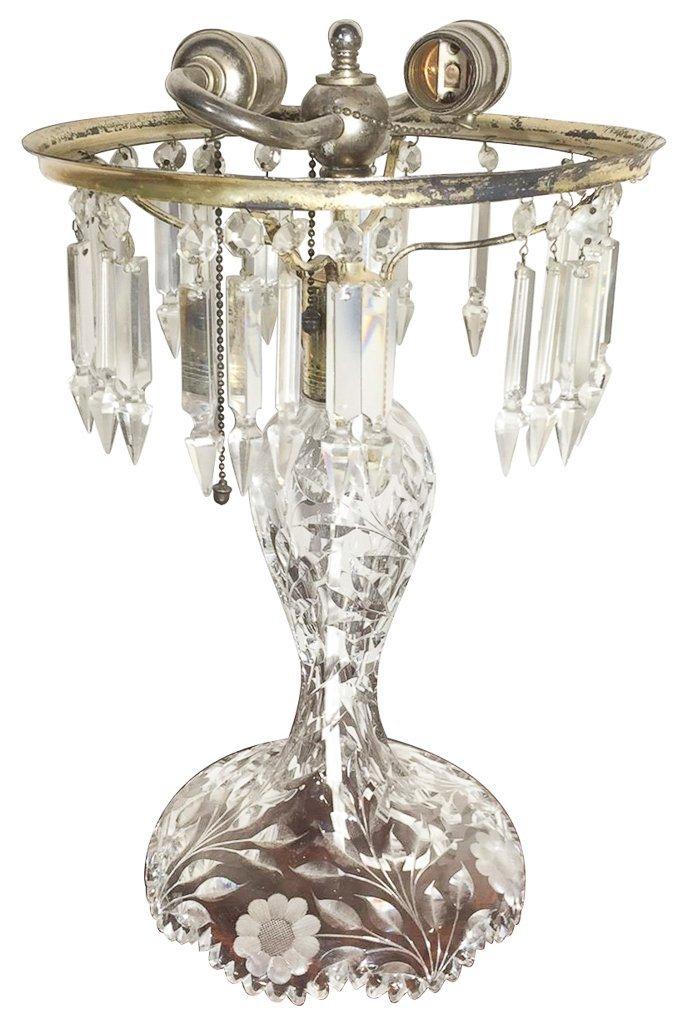 American Brilliant . Cut Glass Lamp, Missing
