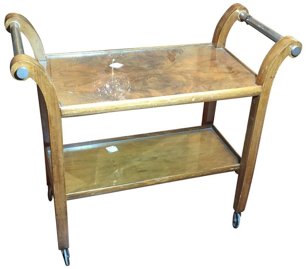 Mid Century Walnut Tea Cart With Polished