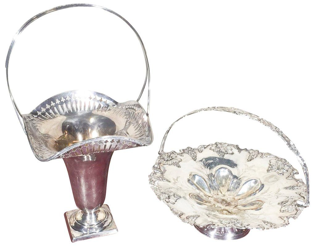Two Silver Plated Handled Brides Baskets