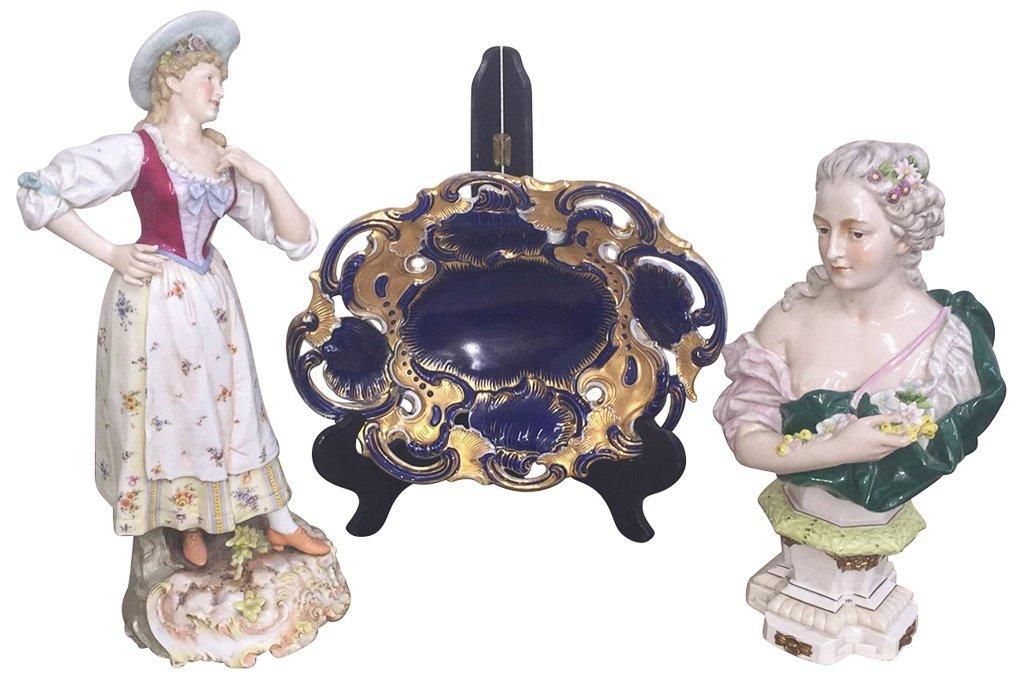 3 Pcs. German Porcelain, Meissen Cobalt  And