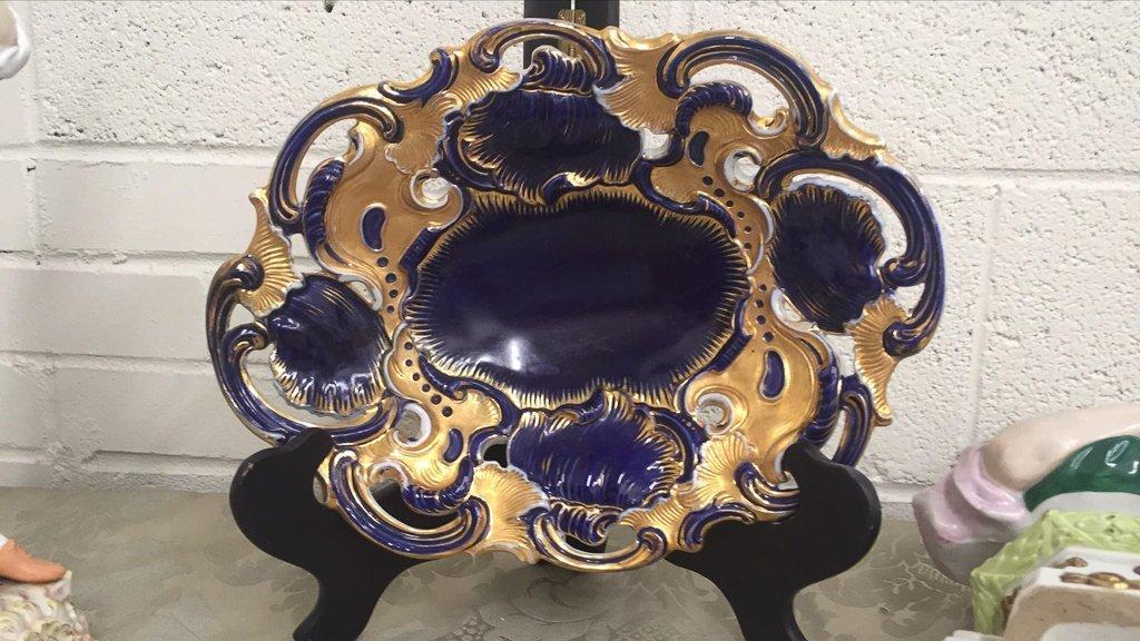 3 Pcs. German Porcelain, Meissen Cobalt  And - 6