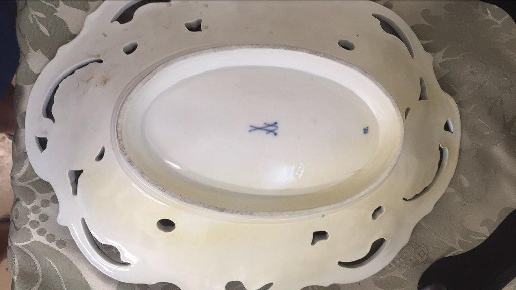 3 Pcs. German Porcelain, Meissen Cobalt  And - 7