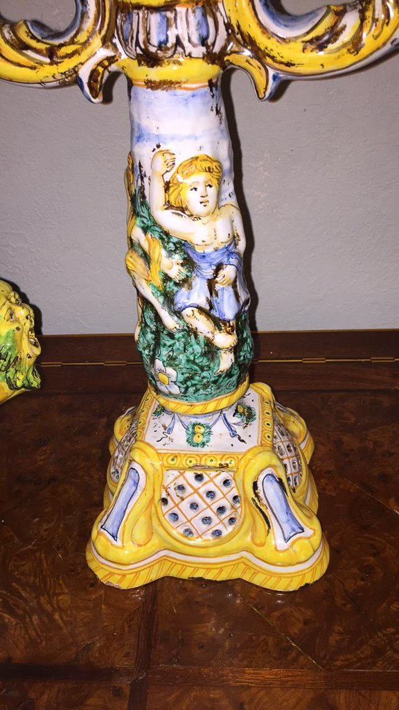 Italian Faience Centerpiece With Pair - 4
