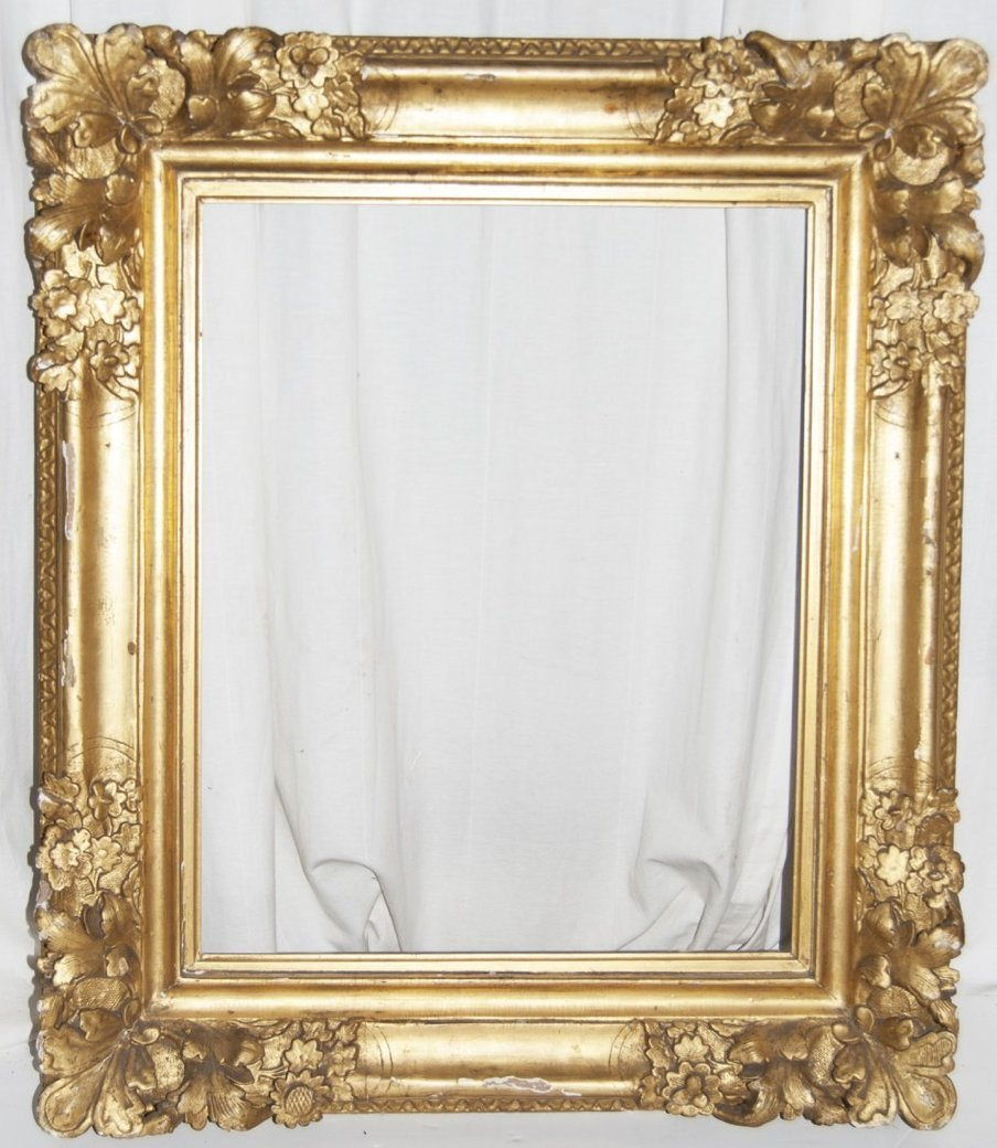 French 18th C. Louis XIV hand carved and gilded frame