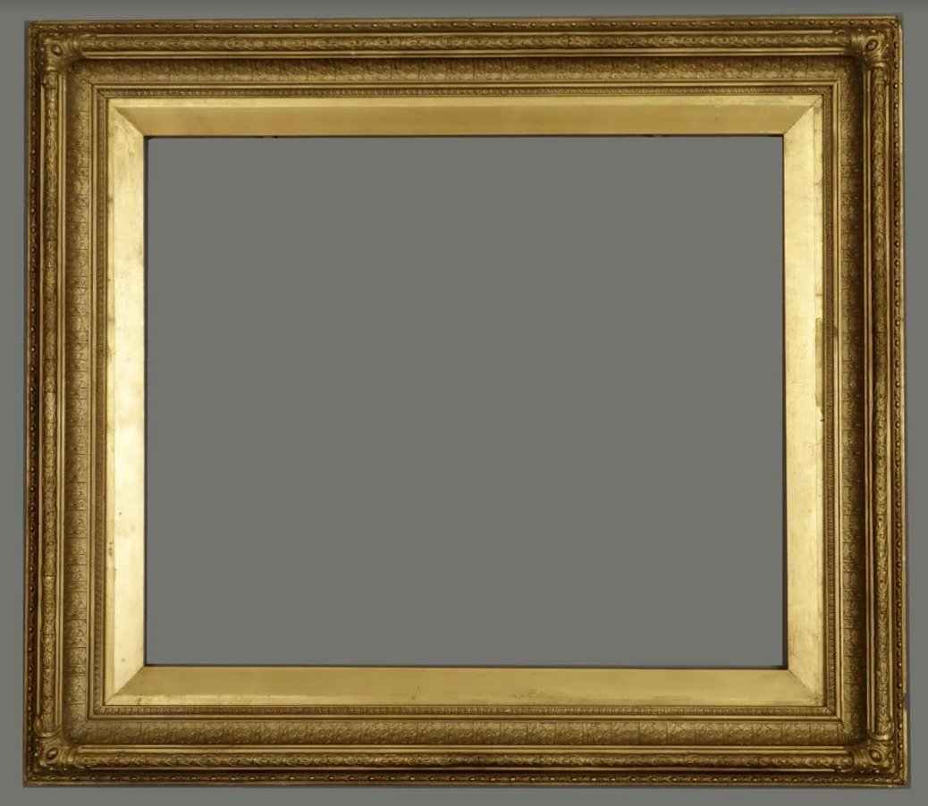 American 19th C. applied ornament and gilded frame