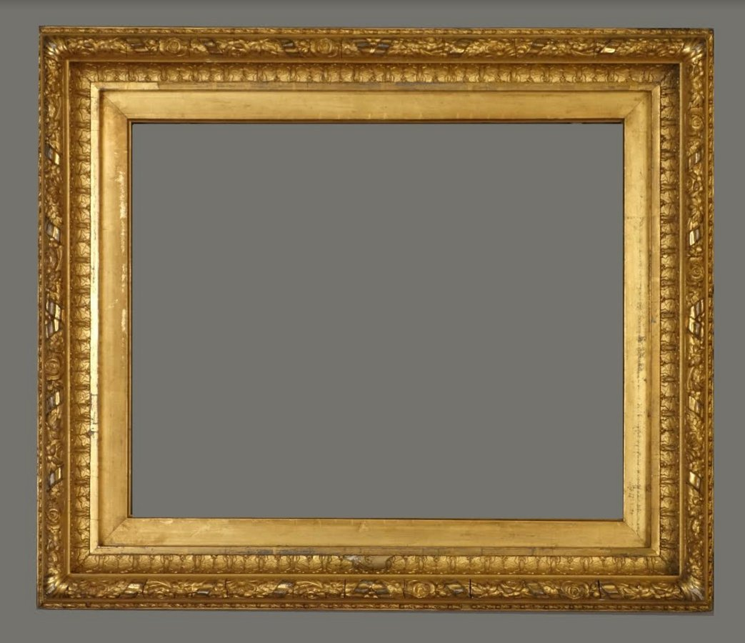 American 19th C. applied ornament & gilded cove frame