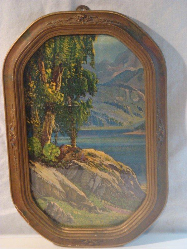 23: Framed Curved Glass Mountain Scene