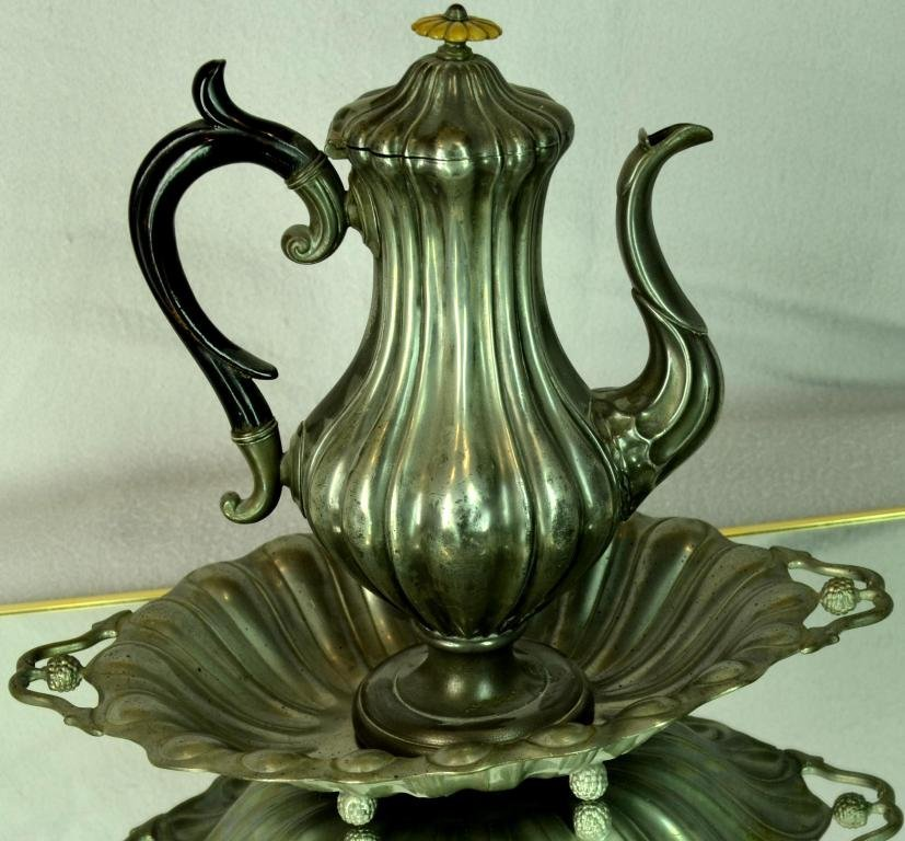 2: Pewter Coffee pot and serving tray