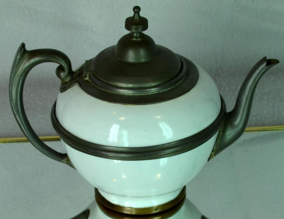 3: Pewter and Enamel decorated Tea pot